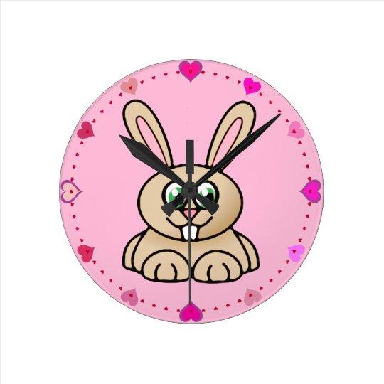 Green Eyes Rabbit Cartoon Art Round Clock