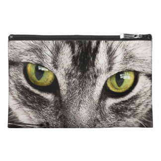 Green eyes tabby cat close-up travel accessory bag