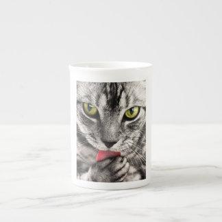 Green eyes tabby cat cute bone china mug