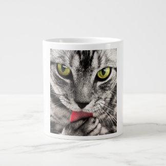 Green eyes tabby cat cute jumbo mug