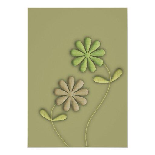 Green Fabric Flowers Invitations