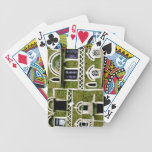 Green facade architecture playing cards