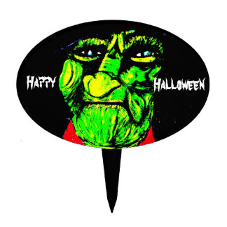 GREEN FACE HALLOWEEN WITCH topper Oval Cake Picks