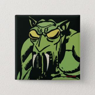 Green Face Monster Pinback Button