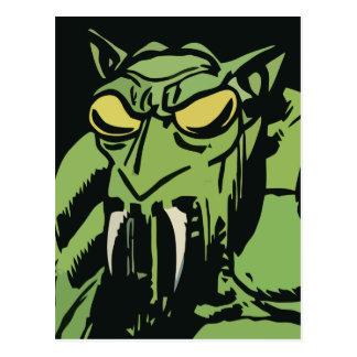 Green Face Monster Postcard