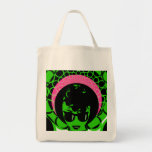 Green Face Pink Scarf Afro Grocery Tote Bag
