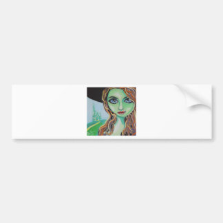 Green face witch with big blue eyes Gordon Bruce Bumper Sticker