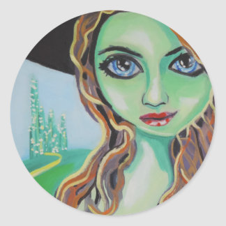 Green face witch with big blue eyes Gordon Bruce Classic Round Sticker
