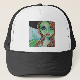 Green face witch with big blue eyes Gordon Bruce Trucker Hat