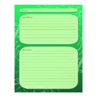 "Green fade classy swirl recipe page 8.5"" x 11"" flyer"