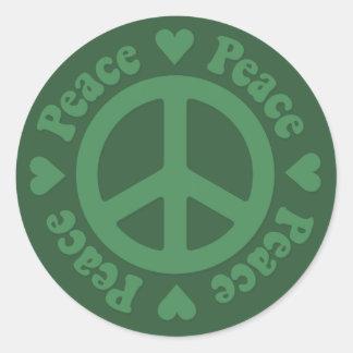Green Fade Peace Sign Classic Round Sticker