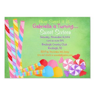 Green Faded Lots of Candy Sweet 16 Invitation
