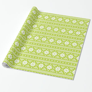 Green Fair Isle Christmas Sweater Pattern Wrapping Paper