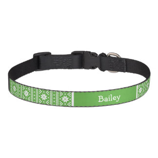 Green Fair Isle Monogram Pet Collar