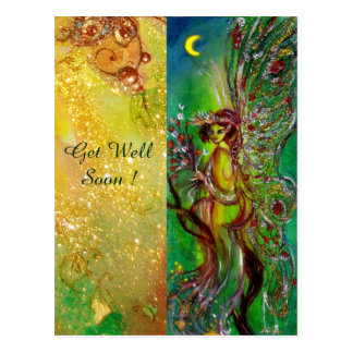 GREEN FAIRY AND GOLD FLORAL SPARKLES Get Well Soon Postcard