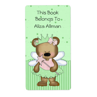 Green Fairy Bear Bookplate Label