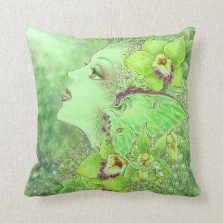 Green Fairy Fantasy Art Pillow