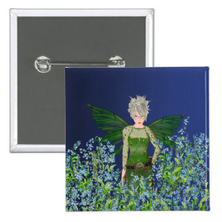 Green Fairy - Forget-Me-Not Pinback Button