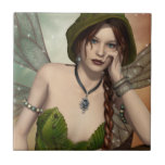 Green Fairy girl Small Square Tile