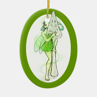 Green Fairy Holding Absinthe Spoon Ceramic Ornament
