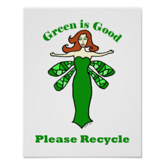 Green Fairy Recycle Poster