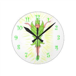 Green Fairy Round Clock