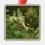 Green Fairy Splashy Collage II Christmas Tree Ornaments
