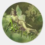 Green Fairy Splashy Collage II Round Stickers