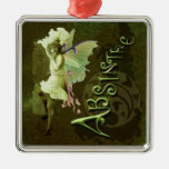 Green Fairy Splashy Collage III Christmas Ornaments