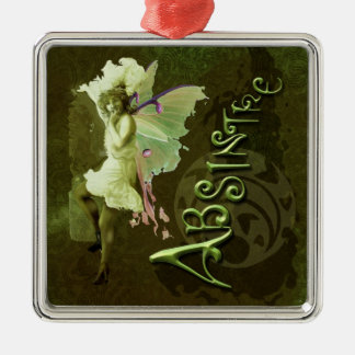 Green Fairy Splashy Collage III Square Metal Christmas Ornament