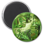 Green Fairy Splashy Collage IV Fridge Magnet