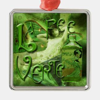 Green Fairy Splashy Collage IV Metal Ornament