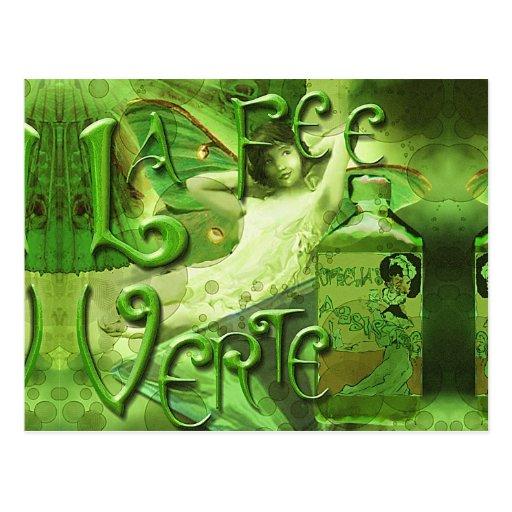 Green Fairy Splashy Collage IV Postcard