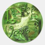 Green Fairy Splashy Collage IV Classic Round Sticker