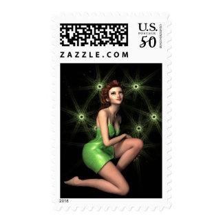 Green Fairy Tale Fantasy Fireflies Lights Stamp