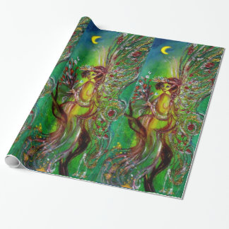 GREEN FAIRY WITH GOLD SILVER SPARKLES IN MOONLIGHT WRAPPING PAPER