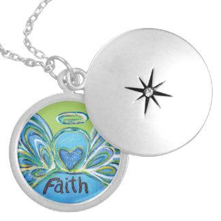Green Faith Guardian Angel Words Sterling Lockets