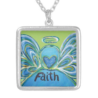 Green Faith Guardian Angel Words Sterling Necklace