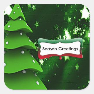 Green Fake Christmas Tree Stickers