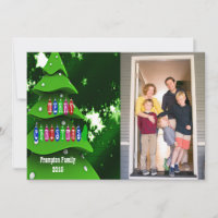 Green Fake Christmas Tree with Photo Flat Card