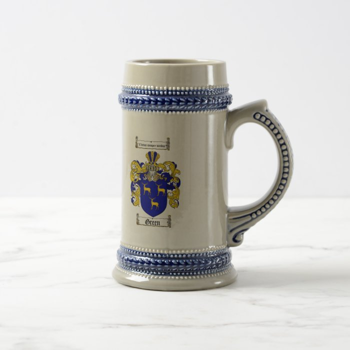 GREEN FAMILY CREST -  GREEN COAT OF ARMS BEER STEIN