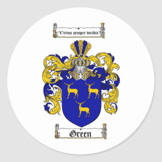 GREEN FAMILY CREST - GREEN COAT OF ARMS STICKERS