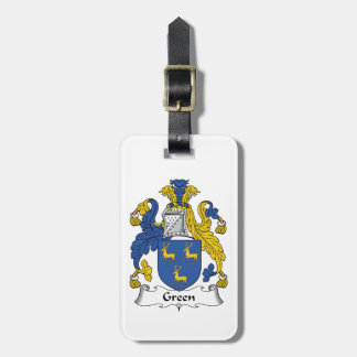 Green Family Crest Luggage Tag