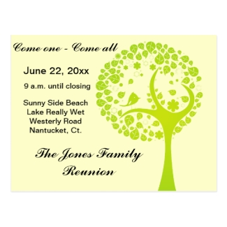 Green Family Reunion Tree Post Card