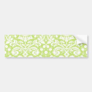 Green fancy damask pattern bumper stickers