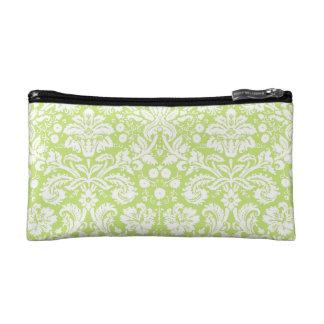 Green fancy damask pattern cosmetic bag