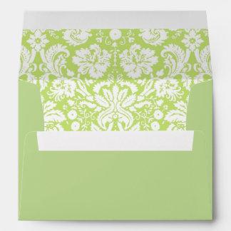 Green fancy damask pattern envelope
