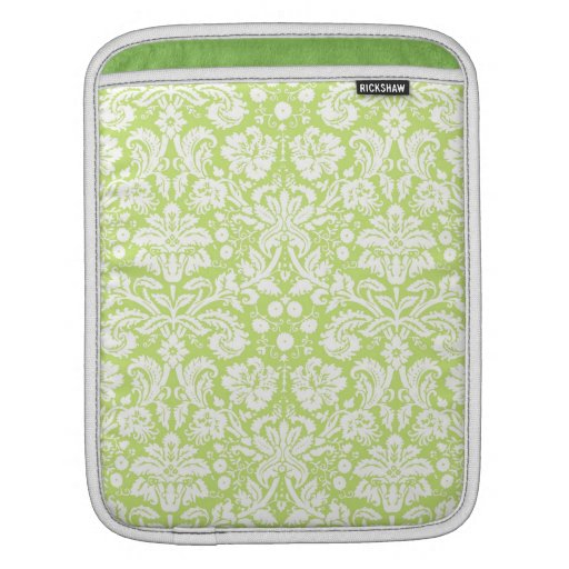 Green fancy damask pattern sleeves for iPads