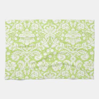 Green fancy damask pattern kitchen towels