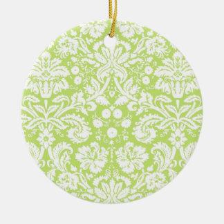 Green fancy damask pattern christmas ornament